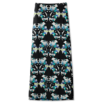 Butterfly maxiskirt, black-turquoise