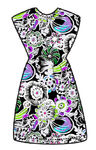 Flowerpower onesize dress, black/colorful