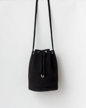 Canvas drawstring purse, black