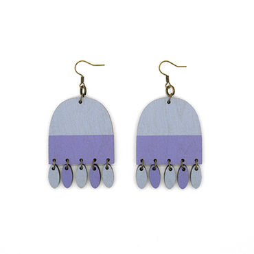 CUP earrings, dangle, smoky blueberry