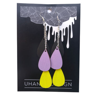 Pisara earrings, black-lavender-neon yellow