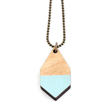 Diamante necklace, Small, baby blue / light wood