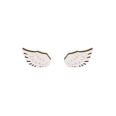 MAMA Mini Wing stud earrings, white