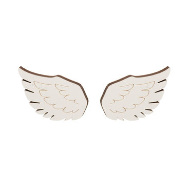 MAMA Wing stud earrings, white
