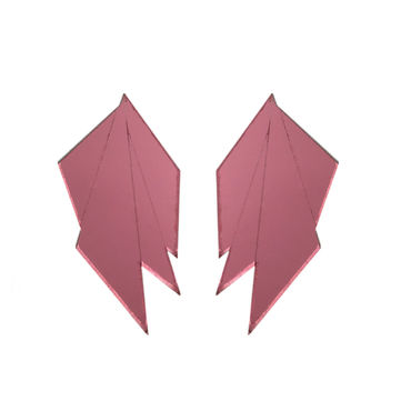 MAMA Fan earrings, pink mirror